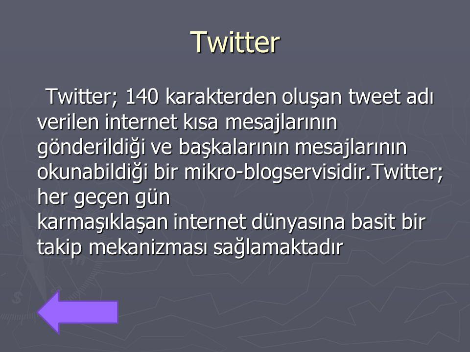 Twitter Twitter; 140 karakterden oluşan tweet adı verilen internet kısa mesajlarının gönderildiği ve başkalarının mesajlarının okunabildiği bir mikro-