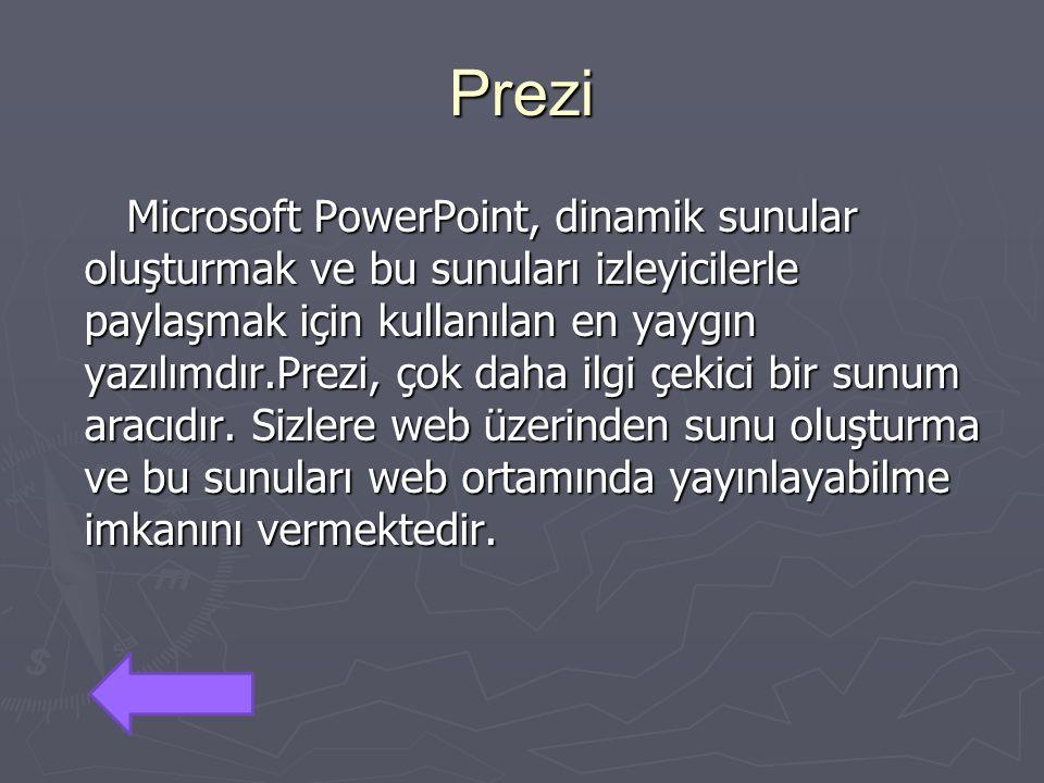 Prezi Microsoft PowerPoint, dinamik sunular oluşturmak ve bu sunuları izleyicilerle paylaşmak için kullanılan en yaygın yazılımdır.Prezi, çok daha ilg