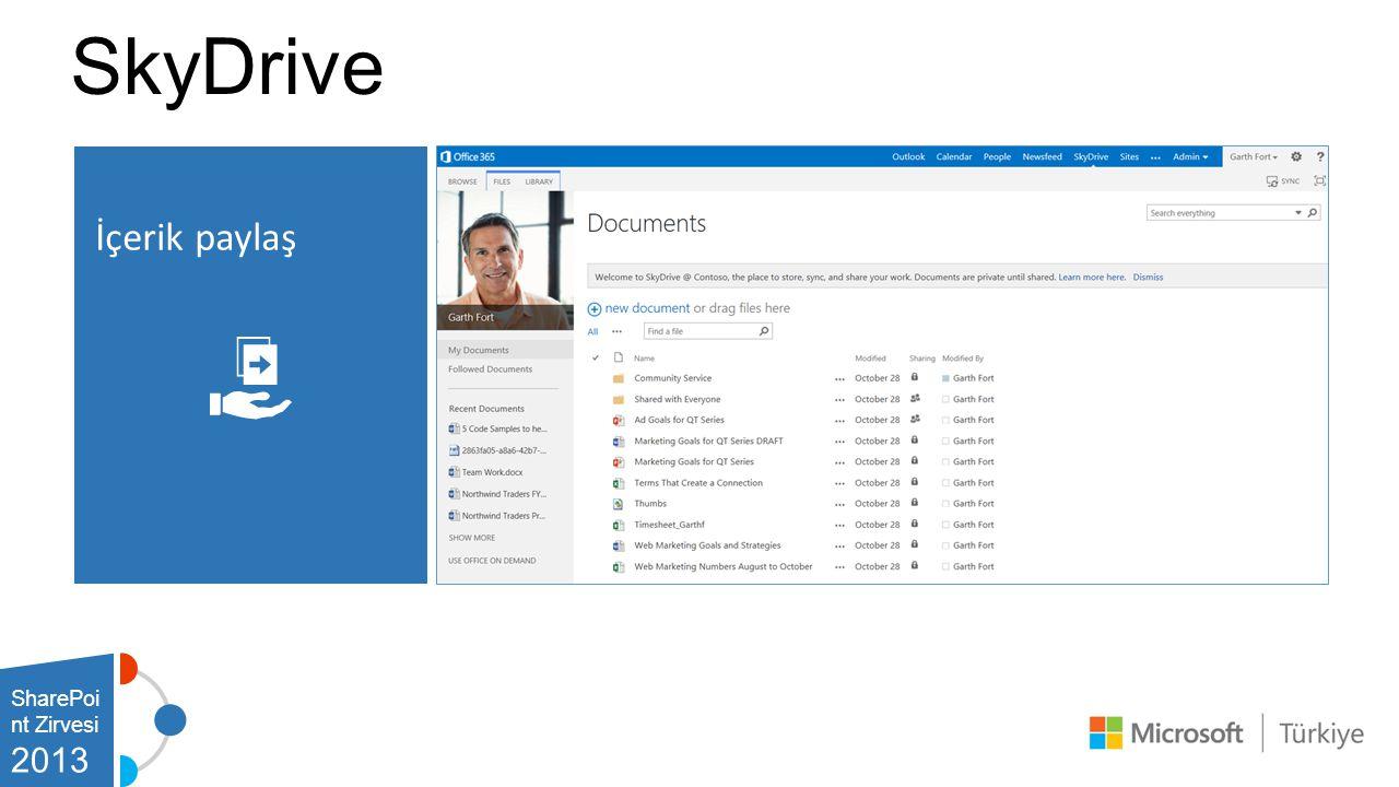 SharePoi nt Zirvesi 2013 İçerik paylaş SkyDrive