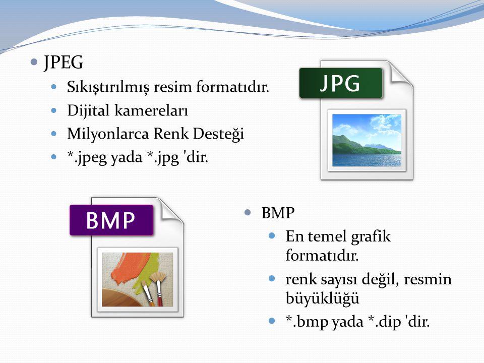  JPEG  Sıkıştırılmış resim formatıdır.  Dijital kamereları  Milyonlarca Renk Desteği  *.jpeg yada *.jpg 'dir.  BMP  En temel grafik formatıdır.