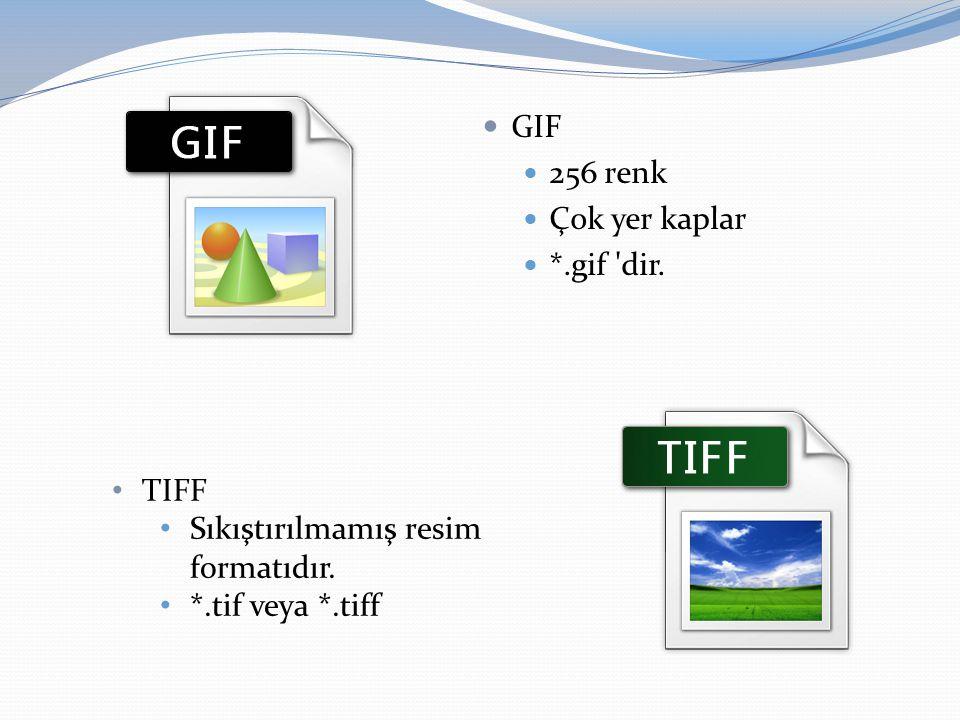  GIF  256 renk  Çok yer kaplar  *.gif 'dir. • TIFF • Sıkıştırılmamış resim formatıdır. • *.tif veya *.tiff
