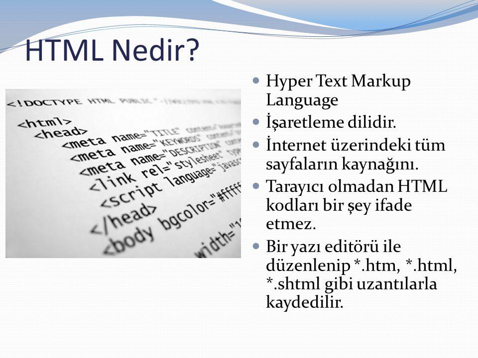  Hyper Text Markup Language  İşaretleme dilidir.  İnternet üzerindeki tüm sayfaların kaynağını.  Tarayıcı olmadan HTML kodları bir şey ifade etmez