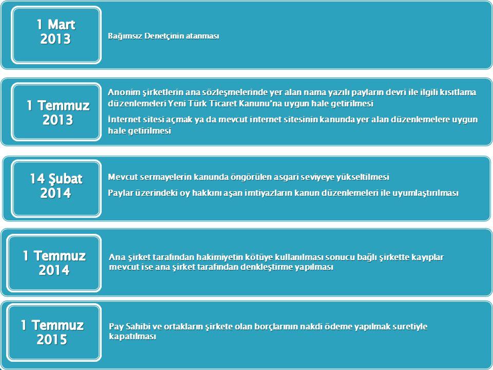 Bağımsız Denetçinin atanması Anonim şirketlerin ana sözleşmelerinde yer alan nama yazılı payların devri ile ilgili kısıtlama düzenlemeleri Yeni Türk T