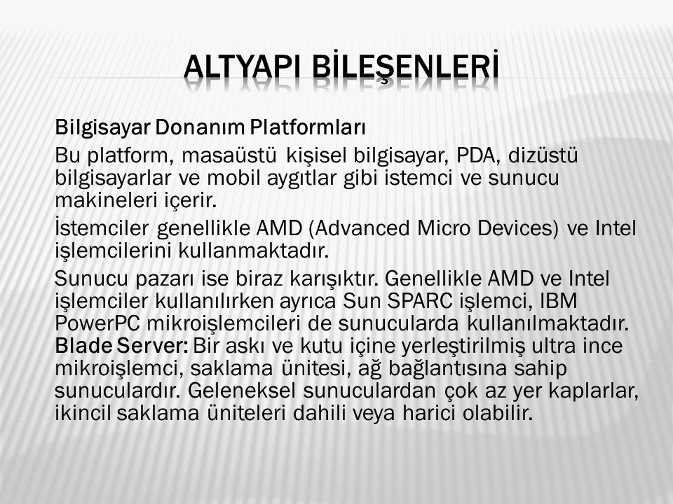 Bilgisayar Donanım Platformları Bu platform, masaüstü kişisel bilgisayar, PDA, dizüstü bilgisayarlar ve mobil aygıtlar gibi istemci ve sunucu makinele