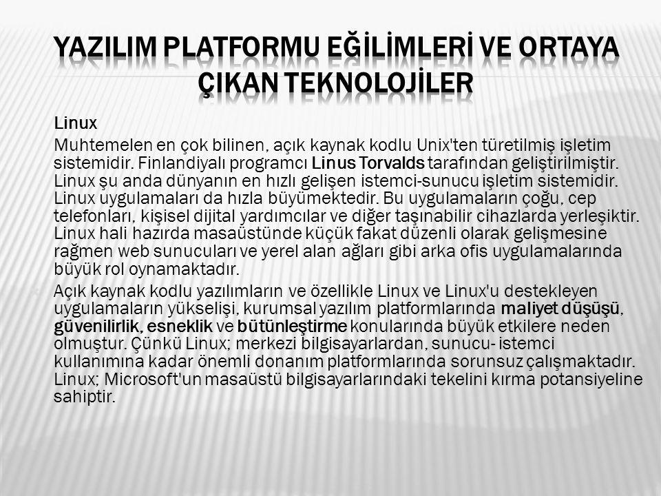 Linux Muhtemelen en çok bilinen, açık kaynak kodlu Unix'ten türetilmiş işletim sistemidir. Finlandiyalı programcı Linus Torvalds tarafından geliştiril