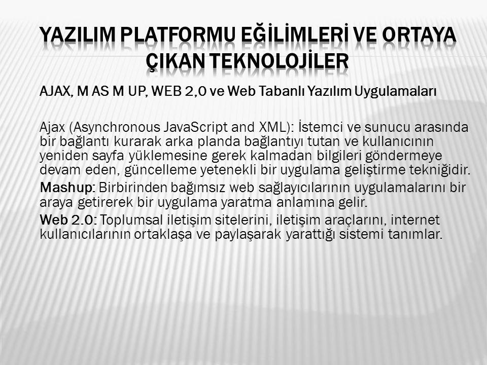 AJAX, M AS M UP, WEB 2,0 ve Web Tabanlı Yazılım Uygulamaları Ajax (Asynchronous JavaScript and XML): İstemci ve sunucu arasında bir bağlantı kurarak a