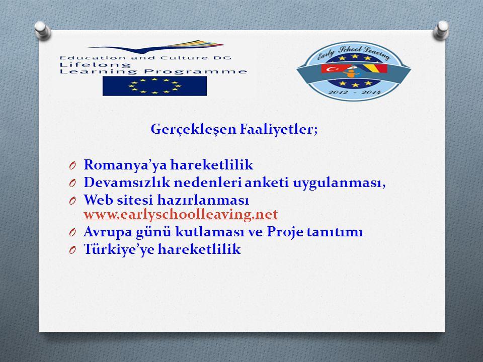 Gerçekleşen Faaliyetler; O Romanya'ya hareketlilik O Devamsızlık nedenleri anketi uygulanması, O Web sitesi hazırlanması www.earlyschoolleaving.net www.earlyschoolleaving.net O Avrupa günü kutlaması ve Proje tanıtımı O Türkiye'ye hareketlilik