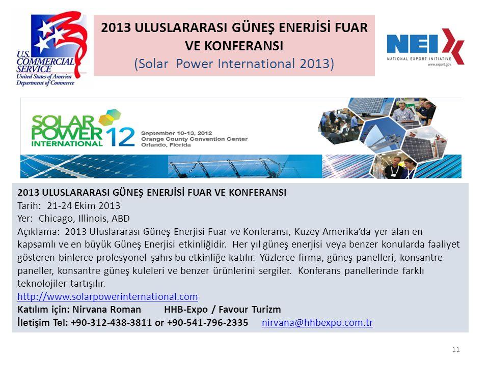 11 2013 ULUSLARARASI GÜNEŞ ENERJİSİ FUAR VE KONFERANSI Tarih: 21-24 Ekim 2013 Yer: Chicago, Illinois, ABD Açıklama: 2013 Uluslararası Güneş Enerjisi Fuar ve Konferansı, Kuzey Amerika'da yer alan en kapsamlı ve en büyük Güneş Enerjisi etkinliğidir.