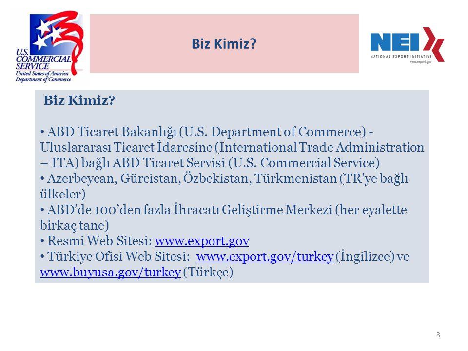 9 Görevlerimiz.• Türkiye'ye ihracat yapmak isteyen Amerikan firmalarına yardımcı olmak.