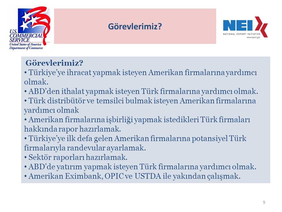 9 Görevlerimiz. • Türkiye'ye ihracat yapmak isteyen Amerikan firmalarına yardımcı olmak.