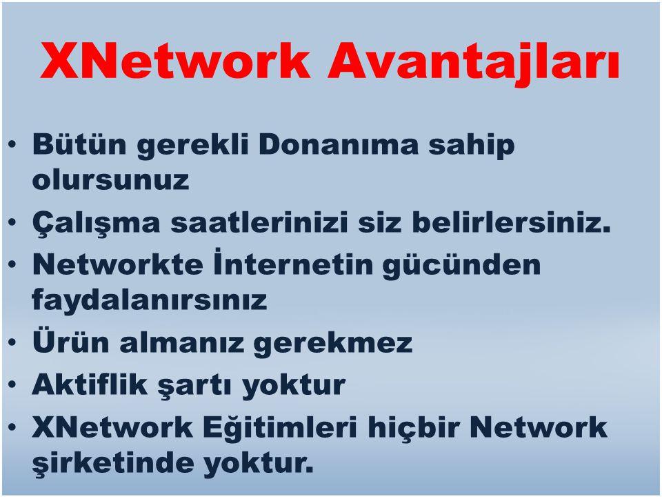 XNetwork Avantajları • Bütün gerekli Donanıma sahip olursunuz • Çalışma saatlerinizi siz belirlersiniz. • Networkte İnternetin gücünden faydalanırsını