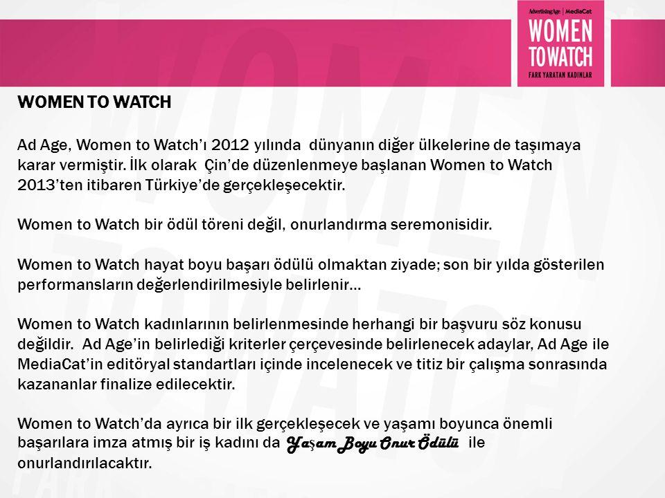 WOMEN TO WATCH Ad Age, Women to Watch'ı 2012 yılında dünyanın diğer ülkelerine de taşımaya karar vermiştir. İlk olarak Çin'de düzenlenmeye başlanan Wo