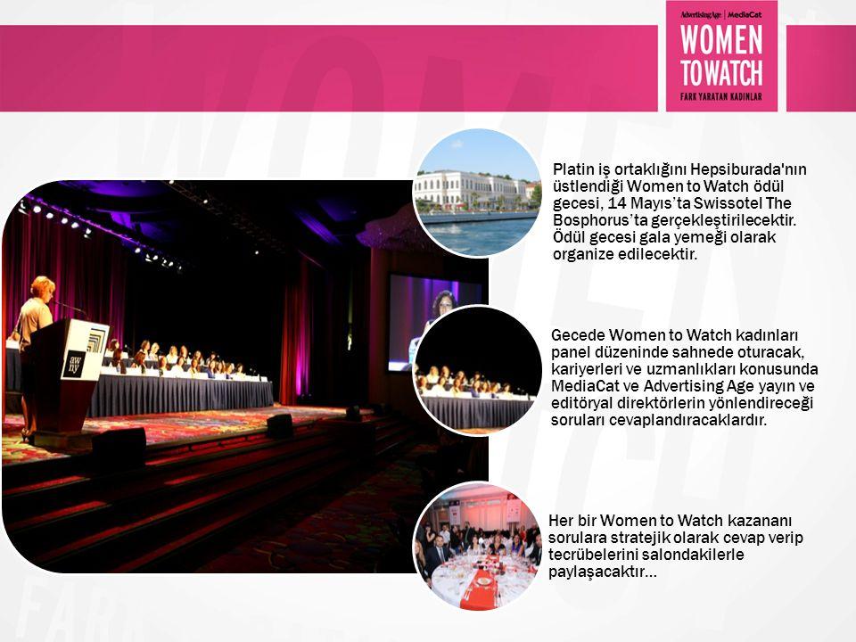 Platin iş ortaklığını Hepsiburada'nın üstlendiği Women to Watch ödül gecesi, 14 Mayıs'ta Swissotel The Bosphorus'ta gerçekleştirilecektir. Ödül gecesi