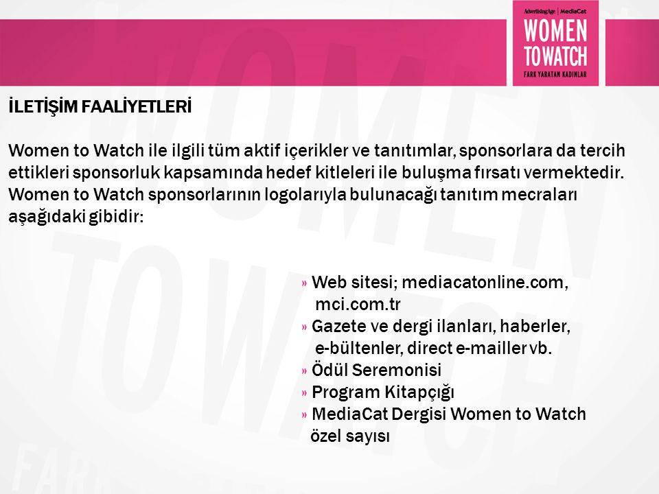 İLETİŞİM FAALİYETLERİ Women to Watch ile ilgili tüm aktif içerikler ve tanıtımlar, sponsorlara da tercih ettikleri sponsorluk kapsamında hedef kitlele