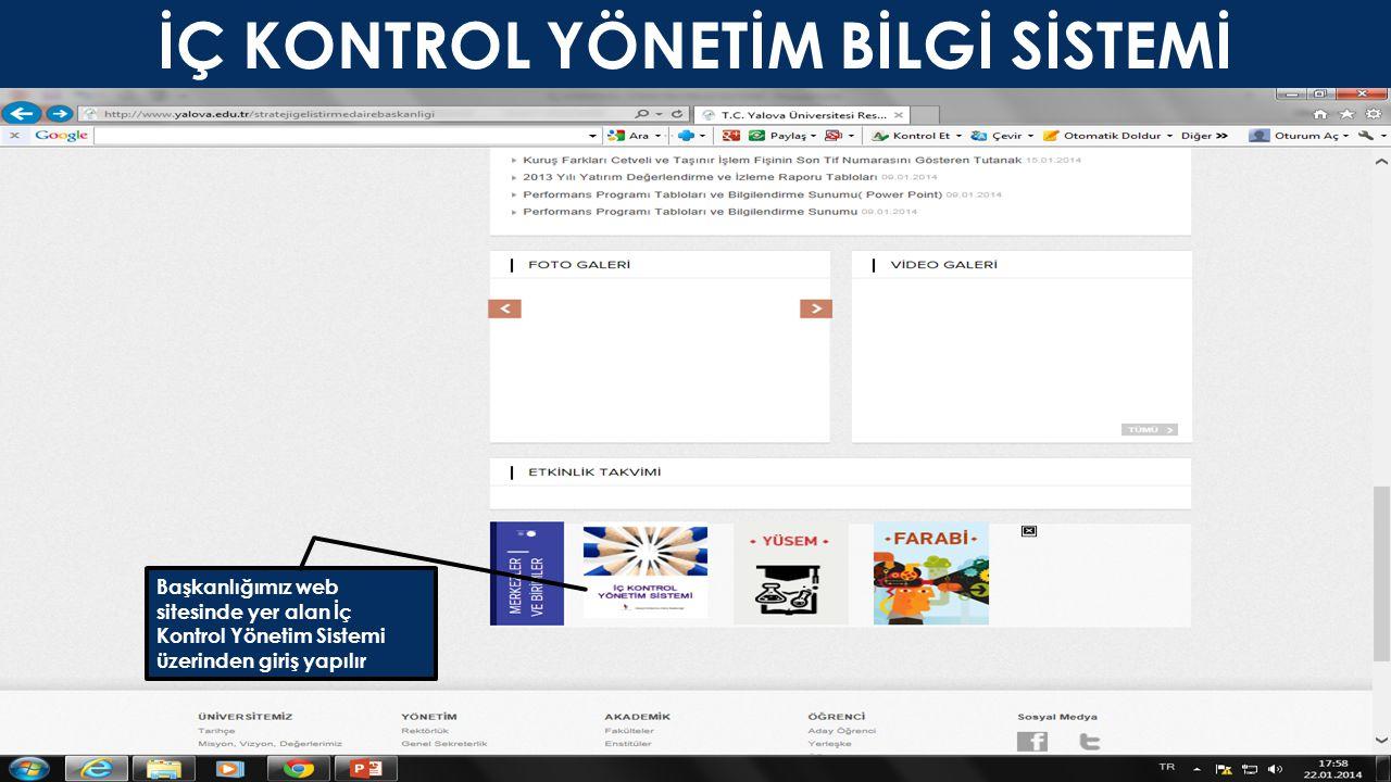 İÇ KONTROL YÖNETİM BİLGİ SİSTEMİ Başkanlığımız web sitesinde yer alan İç Kontrol Yönetim Sistemi üzerinden giriş yapılır