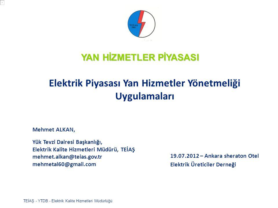 TEİAŞ - YTDB - Elektrik Kalite Hizmetleri Müdürlüğü Frekans Kontrolünde üretim ve tüketim taraflarının ortak çalışması hedeflenmektedir Hiyerarşi Zaman 30 sn.15 dak.