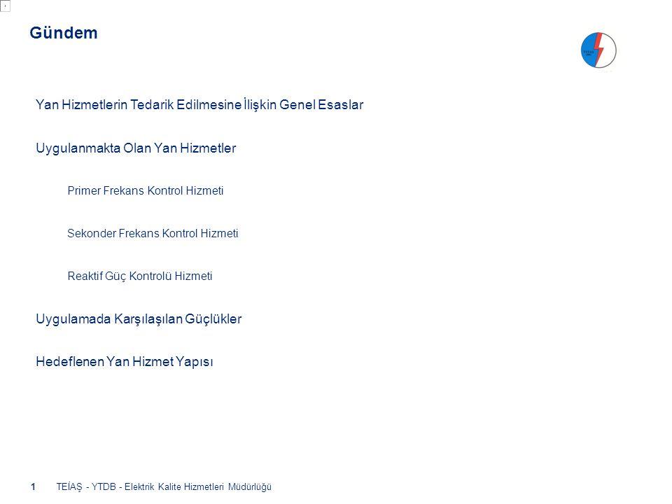 - Oturan Sistemin Toparlanması (Black start) Hizmeti, - Anlık Talep Kontrolü Hizmeti •2012 yılı sonuna kadar uygulamaya konulacak Yan hizmetlerdir.