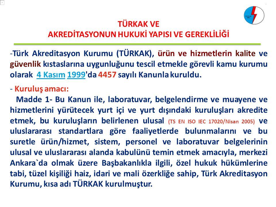 TÜRKAK VE AKREDİTASYONUN HUKUKİ YAPISI VE GEREKLİLİĞİ -Türk Akreditasyon Kurumu (TÜRKAK), ürün ve hizmetlerin kalite ve güvenlik kıstaslarına uygunluğ
