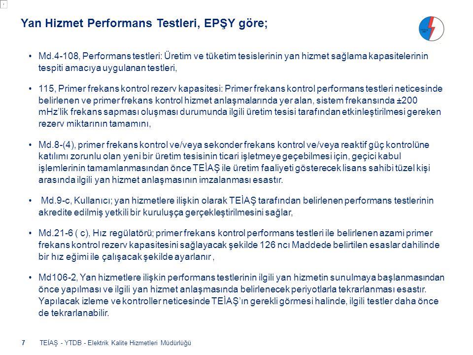 TEİAŞ - YTDB - Elektrik Kalite Hizmetleri Müdürlüğü •Md.4-108, Performans testleri: Üretim ve tüketim tesislerinin yan hizmet sağlama kapasitelerinin