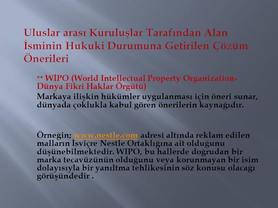 ** WİPO (World Intellectual Property Organization- Dünya Fikri Haklar Örgütü) Markaya ilişkin hükümler uygulanması için öneri sunar, dünyada çoklukla
