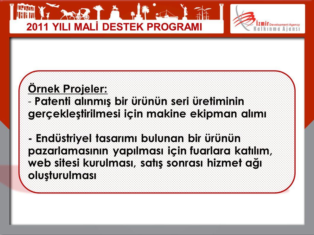 2011 YILI MALİ DESTEK PROGRAMI Örnek Projeler: - Patenti alınmış bir ürünün seri üretiminin gerçekleştirilmesi için makine ekipman alımı - Endüstriyel