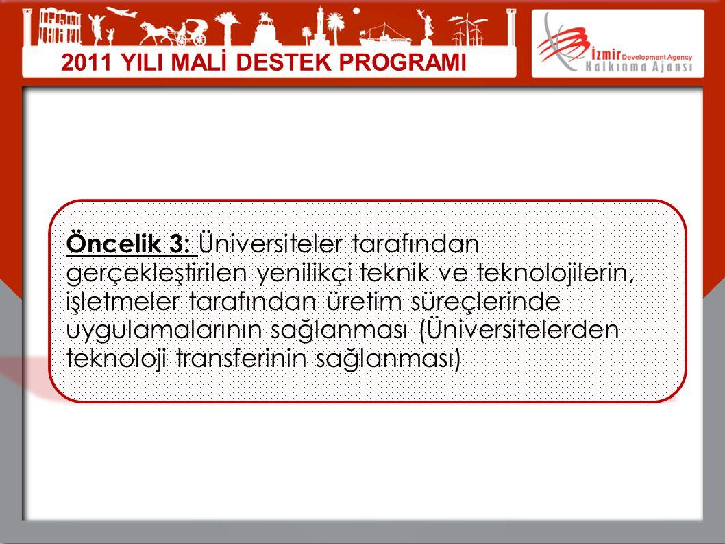 2011 YILI MALİ DESTEK PROGRAMI Öncelik 3: Üniversiteler tarafından gerçekleştirilen yenilikçi teknik ve teknolojilerin, işletmeler tarafından üretim s
