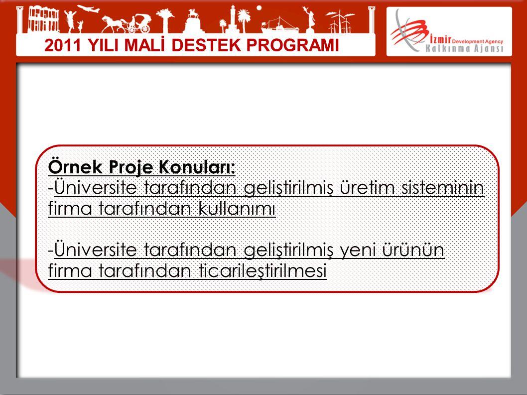 2011 YILI MALİ DESTEK PROGRAMI Örnek Proje Konuları: -Üniversite tarafından geliştirilmiş üretim sisteminin firma tarafından kullanımı -Üniversite tar
