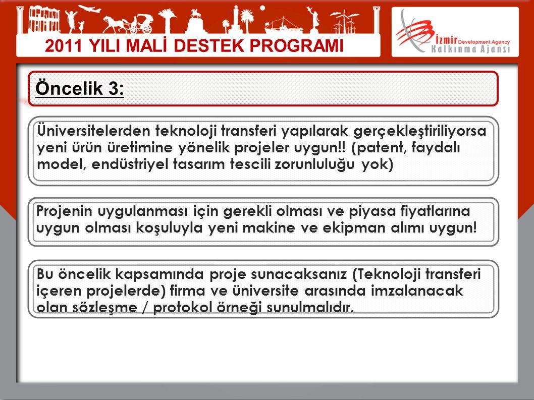 2011 YILI MALİ DESTEK PROGRAMI Öncelik 3 : Üniversitelerden teknoloji transferi yapılarak gerçekleştiriliyorsa yeni ürün üretimine yönelik projeler uy