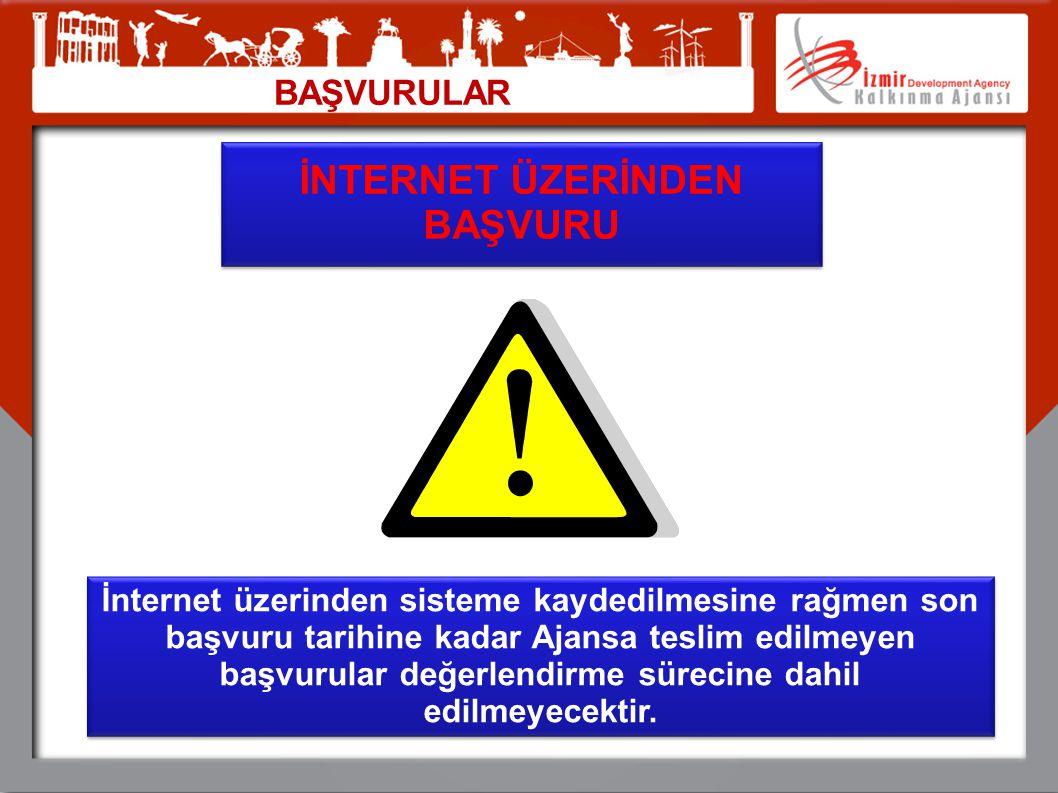 BAŞVURULAR İNTERNET ÜZERİNDEN BAŞVURU İnternet üzerinden sisteme kaydedilmesine rağmen son başvuru tarihine kadar Ajansa teslim edilmeyen başvurular d