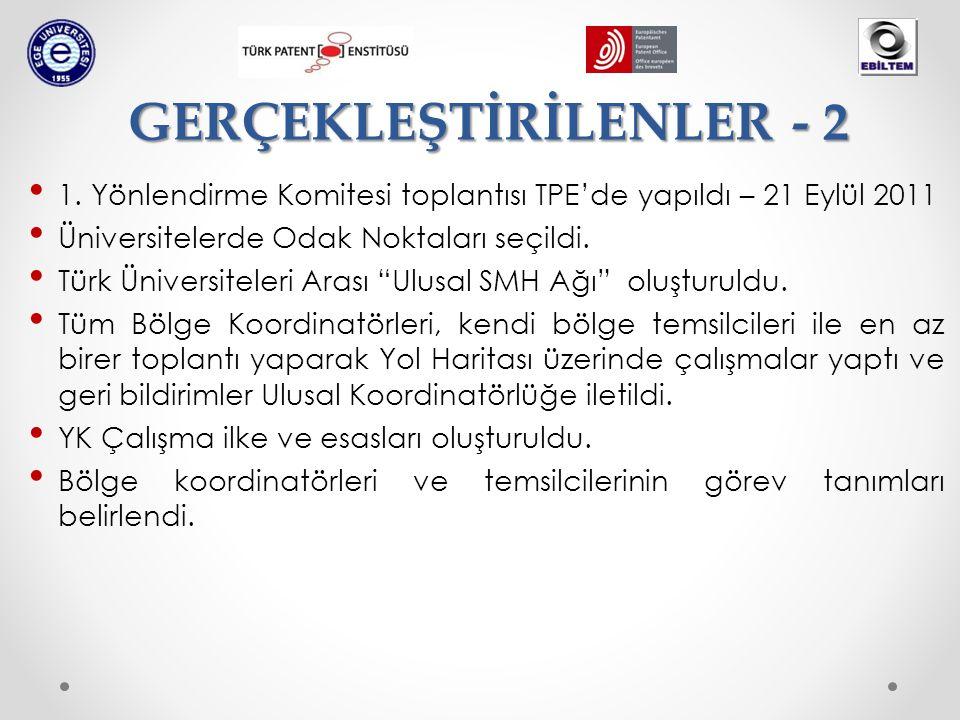 """• 1. Yönlendirme Komitesi toplantısı TPE'de yapıldı – 21 Eylül 2011 • Üniversitelerde Odak Noktaları seçildi. • Türk Üniversiteleri Arası """"Ulusal SMH"""