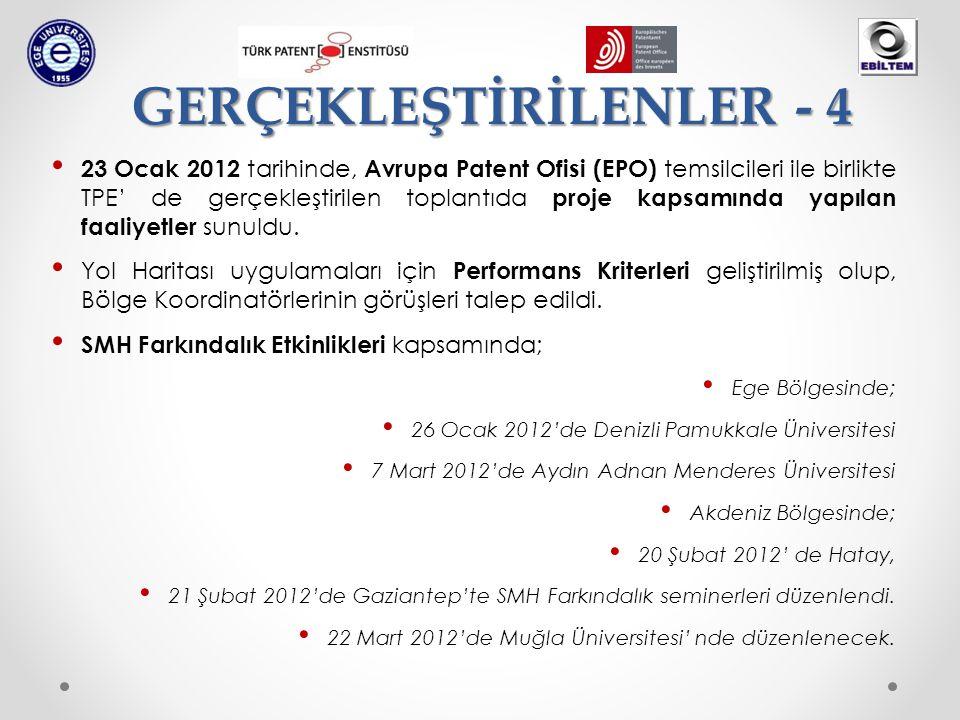 • 23 Ocak 2012 tarihinde, Avrupa Patent Ofisi (EPO) temsilcileri ile birlikte TPE' de gerçekleştirilen toplantıda proje kapsamında yapılan faaliyetler sunuldu.