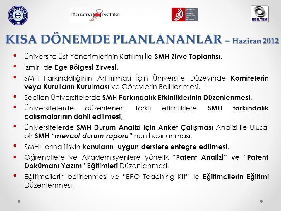 • Üniversite Üst Yönetimlerinin Katılımı İle SMH Zirve Toplantısı, • İzmir' de Ege Bölgesi Zirvesi, • SMH Farkındalığının Arttırılması İçin Üniversite Düzeyinde Komitelerin veya Kurulların Kurulması ve Görevlerin Belirlenmesi, • Seçilen Üniversitelerde SMH Farkındalık Etkinliklerinin Düzenlenmesi, • Üniversitelerde düzenlenen farklı etkinliklere SMH farkındalık çalışmalarının dahil edilmesi, • Üniversitelerde SMH Durum Analizi için Anket Çalışması Analizi ile Ulusal bir SMH mevcut durum raporu nun hazırlanması, • SMH' larına ilişkin konuların uygun derslere entegre edilmesi, • Öğrencilere ve Akademisyenlere yönelik Patent Analizi ve Patent Dokümanı Yazım Eğitimleri Düzenlenmesi, • Eğitimcilerin belirlenmesi ve EPO Teaching Kit ile Eğitimcilerin Eğitimi Düzenlenmesi, KISA DÖNEMDE PLANLANANLAR – Haziran 2012