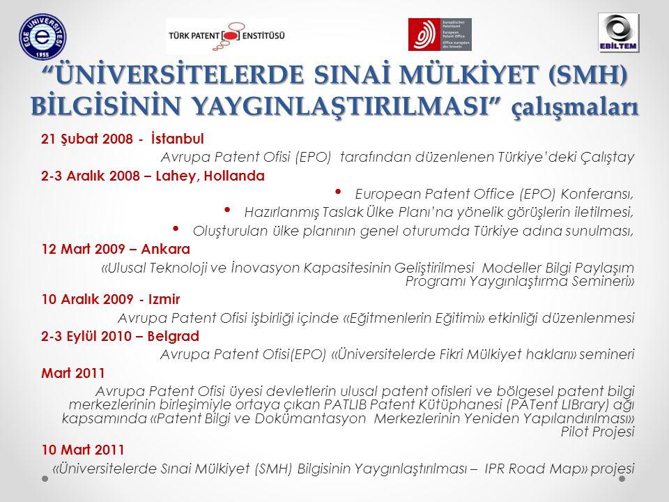 ÜNİVERSİTELERDE SINAİ MÜLKİYET (SMH) BİLGİSİNİN YAYGINLAŞTIRILMASI çalışmaları 21 Şubat 2008 - İstanbul Avrupa Patent Ofisi (EPO) tarafından düzenlenen Türkiye'deki Çalıştay 2-3 Aralık 2008 – Lahey, Hollanda • European Patent Office (EPO) Konferansı, • Hazırlanmış Taslak Ülke Planı'na yönelik görüşlerin iletilmesi, • Oluşturulan ülke planının genel oturumda Türkiye adına sunulması, 12 Mart 2009 – Ankara «Ulusal Teknoloji ve İnovasyon Kapasitesinin Geliştirilmesi Modeller Bilgi Paylaşım Programı Yaygınlaştırma Semineri» 10 Aralık 2009 - Izmir Avrupa Patent Ofisi işbirliği içinde «Eğitmenlerin Eğitimi» etkinliği düzenlenmesi 2-3 Eylül 2010 – Belgrad Avrupa Patent Ofisi(EPO) «Üniversitelerde Fikri Mülkiyet hakları» semineri Mart 2011 Avrupa Patent Ofisi üyesi devletlerin ulusal patent ofisleri ve bölgesel patent bilgi merkezlerinin birleşimiyle ortaya çıkan PATLIB Patent Kütüphanesi (PATent LIBrary) ağı kapsamında «Patent Bilgi ve Dokümantasyon Merkezlerinin Yeniden Yapılandırılması» Pilot Projesi 10 Mart 2011 «Üniversitelerde Sınai Mülkiyet (SMH) Bilgisinin Yaygınlaştırılması – IPR Road Map» projesi