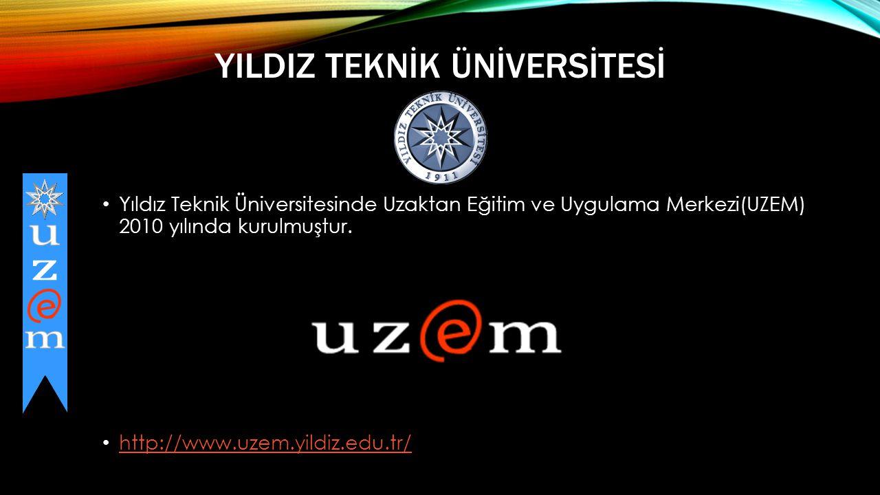 YILDIZ TEKNİK ÜNİVERSİTESİ • Yıldız Teknik Üniversitesinde Uzaktan Eğitim ve Uygulama Merkezi(UZEM) 2010 yılında kurulmuştur.