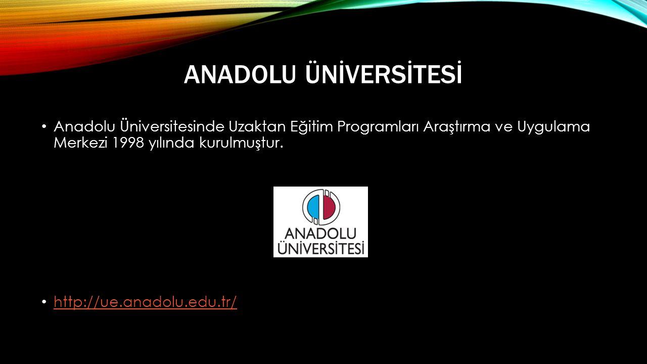 ANADOLU ÜNİVERSİTESİ • Anadolu Üniversitesinde Uzaktan Eğitim Programları Araştırma ve Uygulama Merkezi 1998 yılında kurulmuştur.
