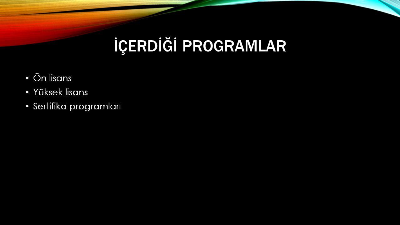 İÇERDİĞİ PROGRAMLAR • Ön lisans • Yüksek lisans • Sertifika programları