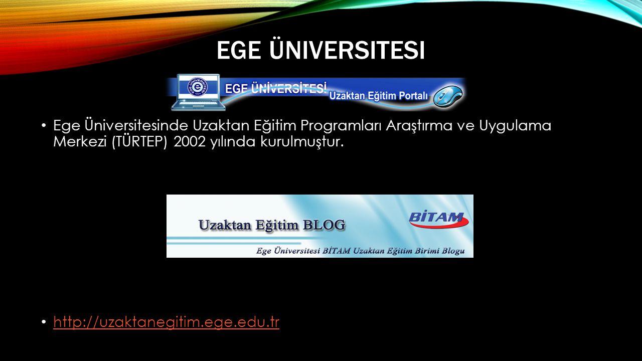 EGE ÜNIVERSITESI • Ege Üniversitesinde Uzaktan Eğitim Programları Araştırma ve Uygulama Merkezi (TÜRTEP) 2002 yılında kurulmuştur.