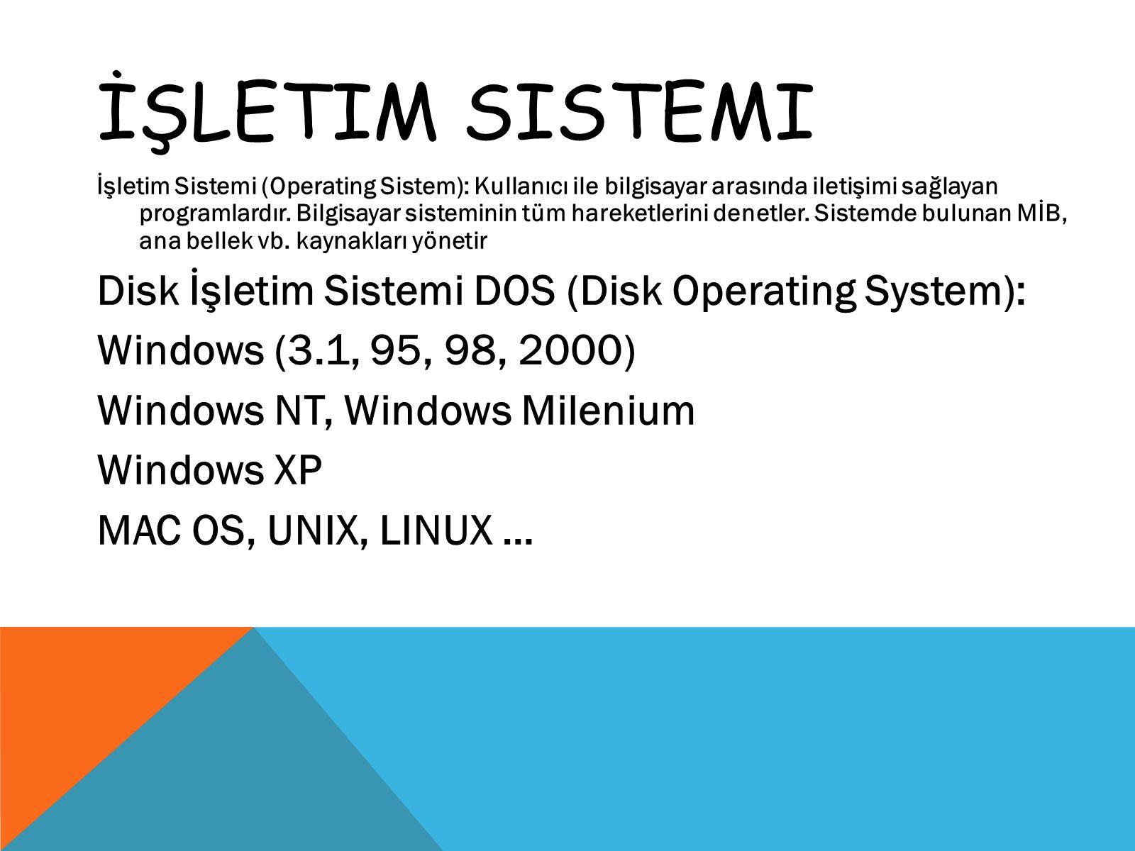 İŞLETIM SISTEMI İşletim Sistemi (Operating Sistem): Kullanıcı ile bilgisayar arasında iletişimi sağlayan programlardır. Bilgisayar sisteminin tüm hare
