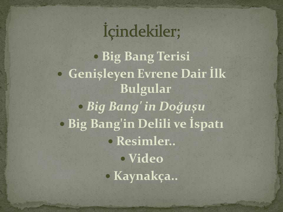  Big Bang Terisi  Genişleyen Evrene Dair İlk Bulgular  Big Bang' in Doğuşu  Big Bang'in Delili ve İspatı  Resimler..  Video  Kaynakça..