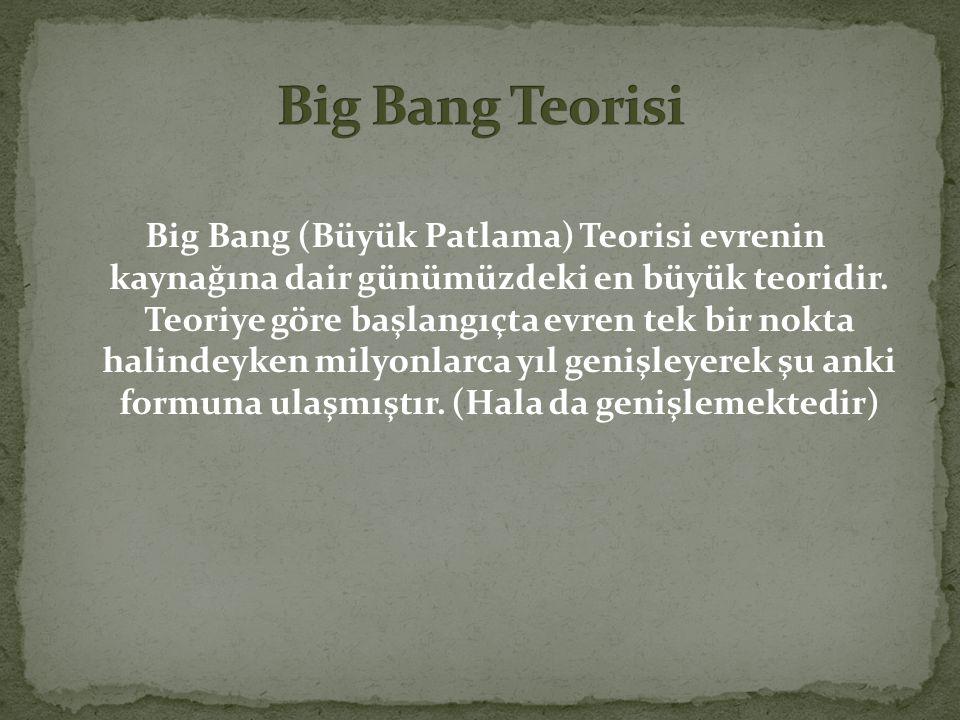 Big Bang (Büyük Patlama) Teorisi evrenin kaynağına dair günümüzdeki en büyük teoridir. Teoriye göre başlangıçta evren tek bir nokta halindeyken milyon