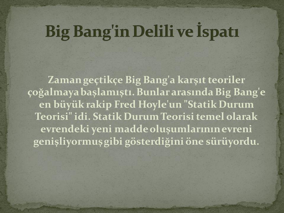 Zaman geçtikçe Big Bang'a karşıt teoriler çoğalmaya başlamıştı. Bunlar arasında Big Bang'e en büyük rakip Fred Hoyle'un