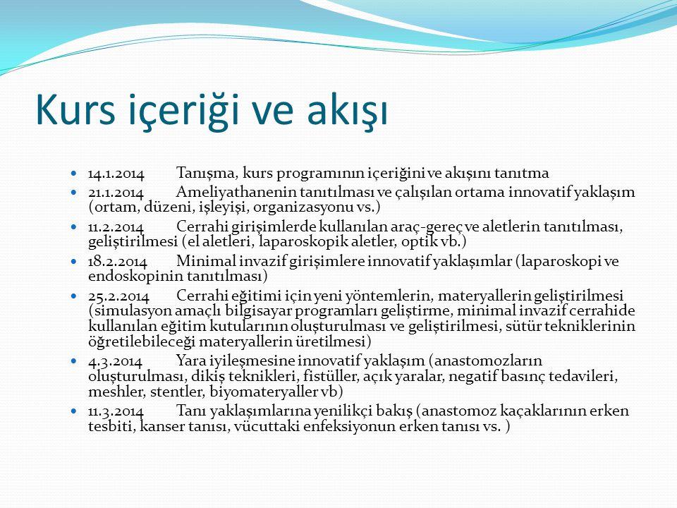 Kurs içeriği ve akışı  14.1.2014Tanışma, kurs programının içeriğini ve akışını tanıtma  21.1.2014Ameliyathanenin tanıtılması ve çalışılan ortama inn