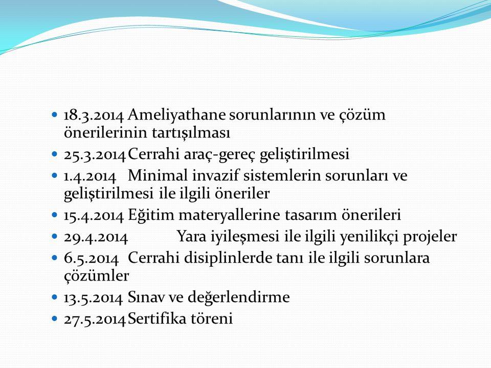  18.3.2014Ameliyathane sorunlarının ve çözüm önerilerinin tartışılması  25.3.2014Cerrahi araç-gereç geliştirilmesi  1.4.2014Minimal invazif sisteml