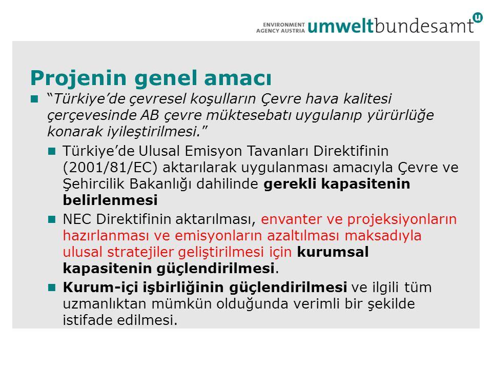 Projenin genel amacı  Türkiye'de çevresel koşulların Çevre hava kalitesi çerçevesinde AB çevre müktesebatı uygulanıp yürürlüğe konarak iyileştirilmesi.  Türkiye'de Ulusal Emisyon Tavanları Direktifinin (2001/81/EC) aktarılarak uygulanması amacıyla Çevre ve Şehircilik Bakanlığı dahilinde gerekli kapasitenin belirlenmesi  NEC Direktifinin aktarılması, envanter ve projeksiyonların hazırlanması ve emisyonların azaltılması maksadıyla ulusal stratejiler geliştirilmesi için kurumsal kapasitenin güçlendirilmesi.