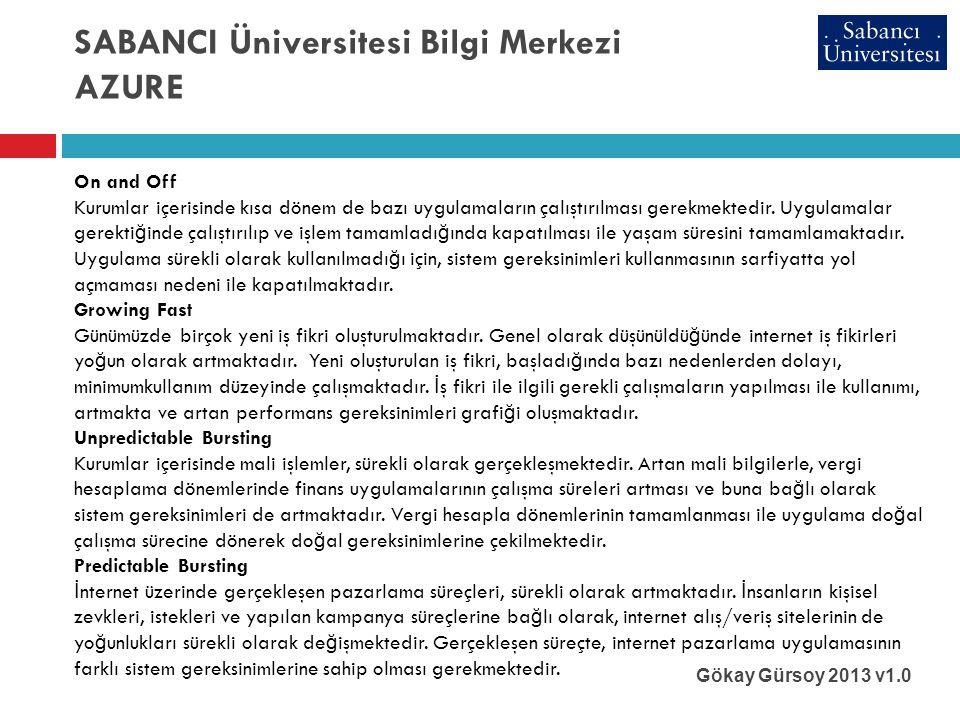 SABANCI Üniversitesi Bilgi Merkezi AZURE Gökay Gürsoy 2013 v1.0 On and Off Kurumlar içerisinde kısa dönem de bazı uygulamaların çalıştırılması gerekmektedir.