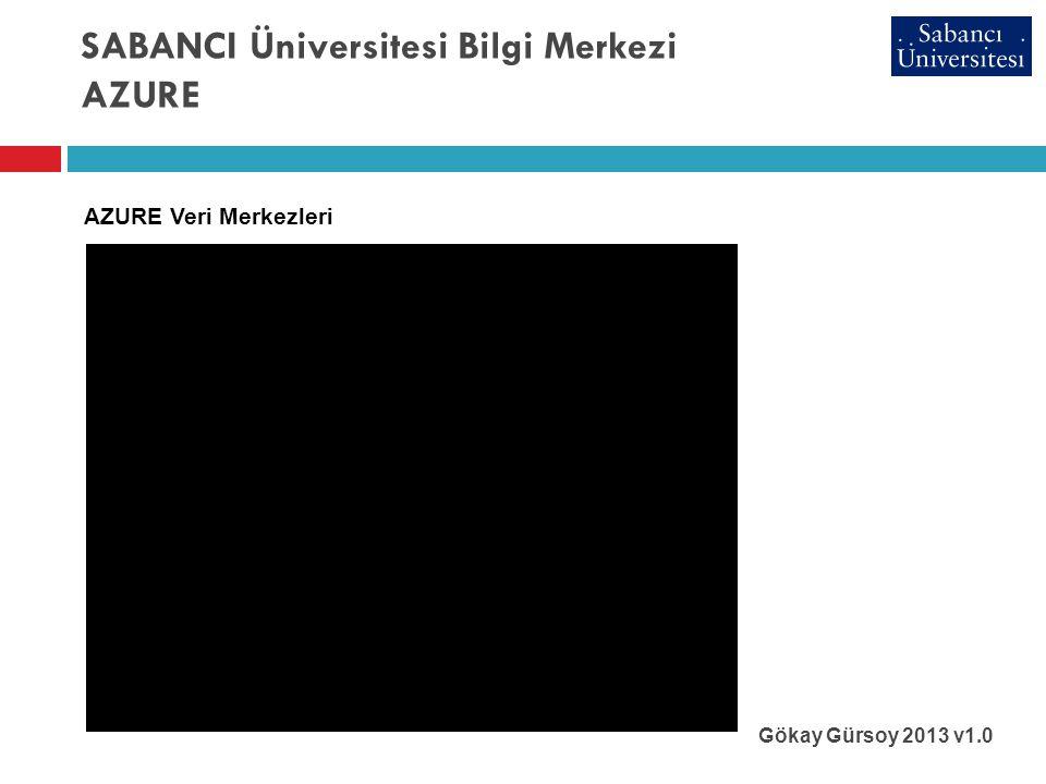 SABANCI Üniversitesi Bilgi Merkezi AZURE Gökay Gürsoy 2013 v1.0 AZURE Veri Merkezleri