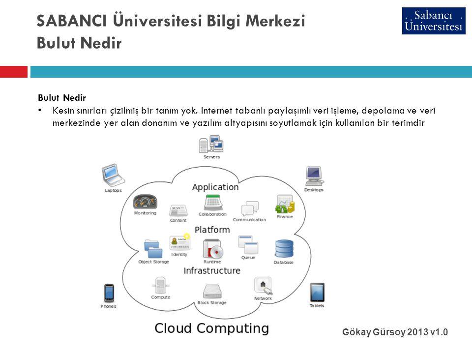 SABANCI Üniversitesi Bilgi Merkezi Bulut Nedir Gökay Gürsoy 2013 v1.0 Bulut Nedir • Kesin sınırları çizilmiş bir tanım yok.