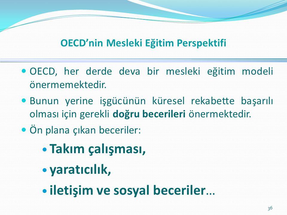  OECD, her derde deva bir mesleki eğitim modeli önermemektedir.  Bunun yerine işgücünün küresel rekabette başarılı olması için gerekli doğru beceril