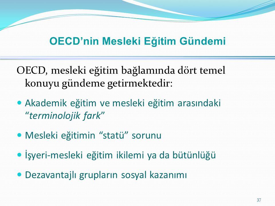 """OECD, mesleki eğitim bağlamında dört temel konuyu gündeme getirmektedir:  Akademik eğitim ve mesleki eğitim arasındaki """"terminolojik fark""""  Mesleki"""