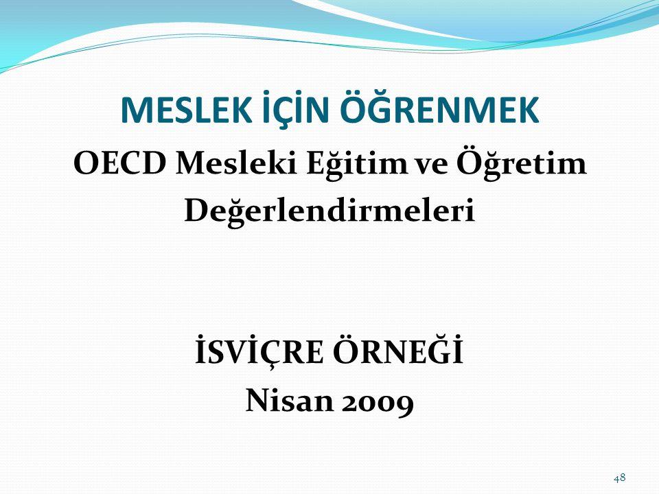 MESLEK İÇİN ÖĞRENMEK OECD Mesleki Eğitim ve Öğretim Değerlendirmeleri İSVİÇRE ÖRNEĞİ Nisan 2009 48